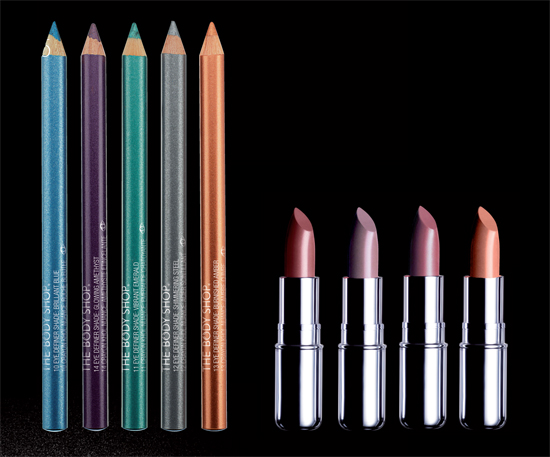 bodyshop eye pencils and lipsticks
