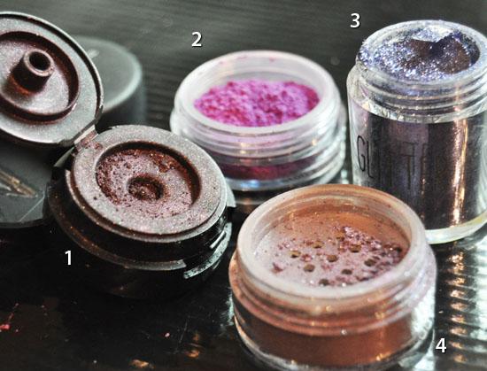 purple pigments and glitter