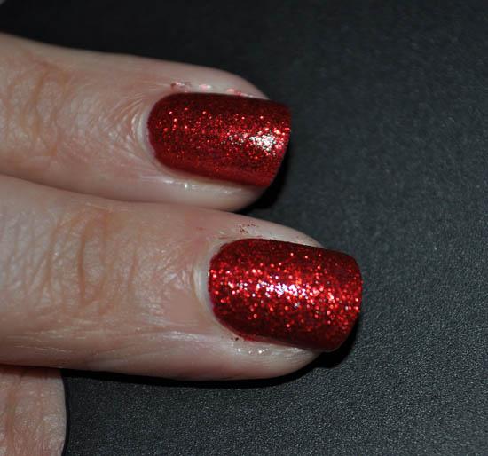 glitter nails: Barry M Red Glitter