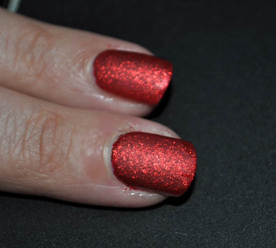 Barry M Red Glitter With A Matte Topcoat