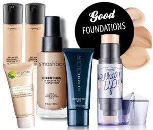four foundations from smashbox, mac, liz earle and garnier