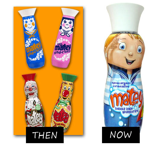 matey bubble bath then and now