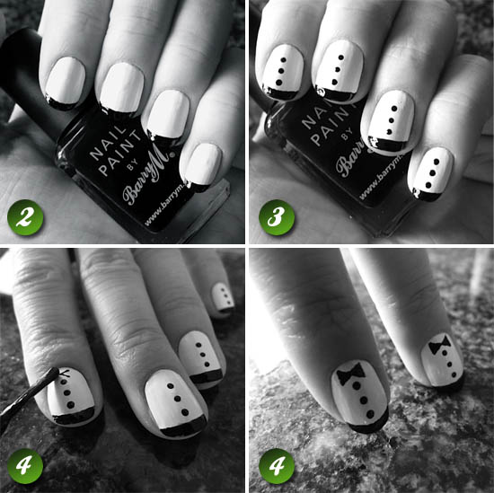 zooey deschanel tuxedo nails tutorial