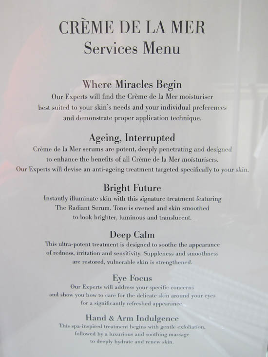 the creme de la mer counter menu