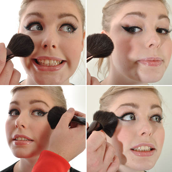 how to apply blusher to cheeks