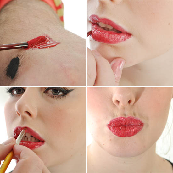 Red Lips tutorial - applying red lipgloss