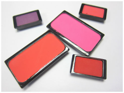 Blushers and wild lavender upbeat pink and red stiletto shadows