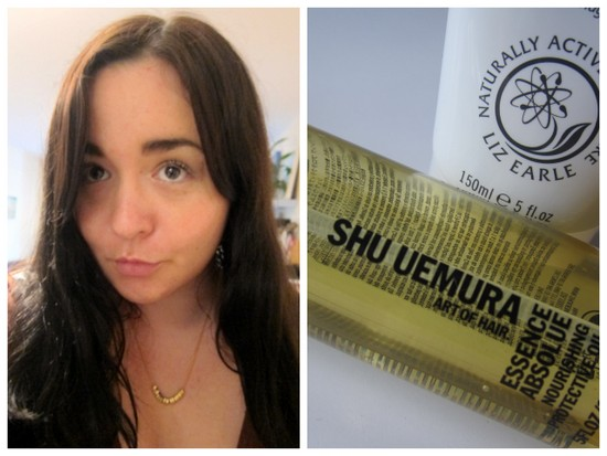 Emma with Shu Uemura hair oil and Liz Earle conditioner