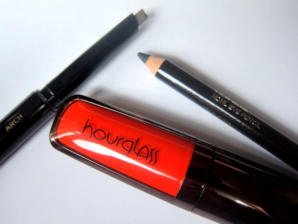 Hourglass Cosmetics Film Noir Kohl, Opaque Rouge Liquid Lipstick, Arch Sculpt Brow Pencil