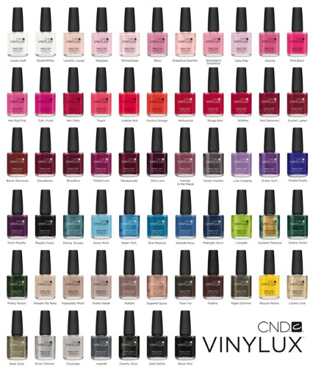 The Vinylux launch shades - all 62 of 'em