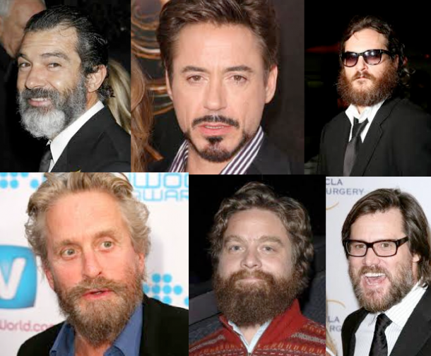 When bad beards happen to good people: clockwise from top left, Antonio Banderas, Robert Downey Junior, Joaquin Phoenix, Jim Carrey, Zach Galifianakis, Michael Douglas