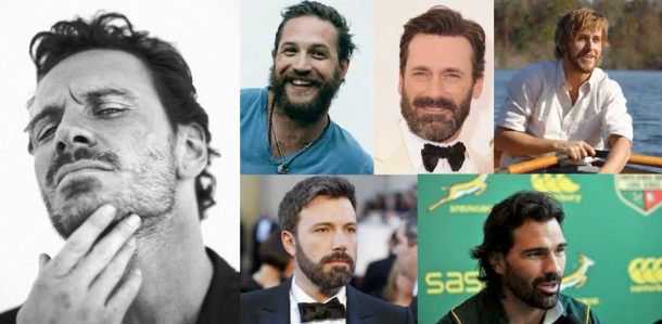 The Gods of the Beard: Clockwise from top left, Michael Fassbender, Tom Hardy, Jon Hamm, Ryan Gosling, Victor Matfield, Ben Affleck