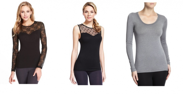 From left: M&S Heatgen Floral Lace €26, M&S Heatgen Spotted Thermal Vest €24, Dunnes Heat Generated Long-Sleeved T-Shirt €12.