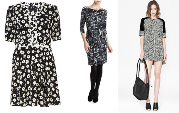 Monochrome: Black Floral Print Contrast Trim Tea Dress €47, Dunnes Gallery Sydney Print Dress €40, French Connection Sahara Wave Dress €155
