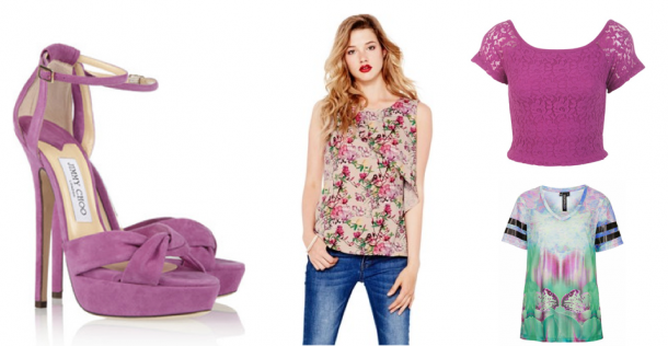 Clockwise from left: Jimmy Choo Sandals (€390), Oasis Bird and Orchid Print Top (€42),  Miss Selfridge Lace Bardot Crop Top (€22), Topshop Blurred Orchid V Neck Tee (€33)