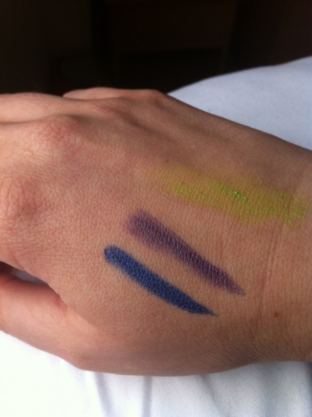 From left: Inky Six eye pencil, Indigo Punk eye pencil, Jaded Jack coloured mascara