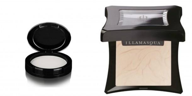 l to r: Inglot's White Highlight Powder, Illamsqua Gleam in Aurora