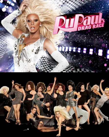 RuPaul and his bevy of beauties (Image courtesy of  Logo)