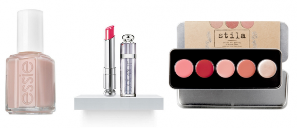 Essie Ballet Slippers Nail Polish 13.5ml €7.95, Dior Addict Lipstick Vibrant Color Spectacular Shine from €28, Stila Colour Me Pretty Convertible Colour Lip & Cheek Palette €24