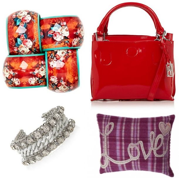 Clockwise from top left: Carolyn Donnelly Eclectic Floral Napkin Ring at Dunnes €12 each, Ben de Lisi Red Patent Grab Bag at Debenhams €43.20, Avoca's Loopy Love Cushion €39.95, M&S Collection Diamanté Plaited Bracelet €24