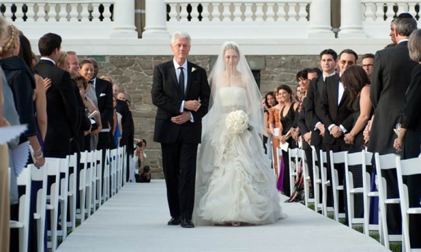 Bill Clinton went on a vegan diet  before he accompanied Chelsea down the aisle on her wedding day (image courtesy of Genevieve de Manio/AFP/Getty)
