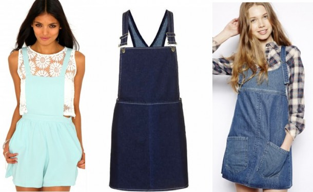 Missguided Isabella Short Dungarees In Mint €25.99, Topshop Moto Clean Indigo Pini Dress €45, Bellfield Denim Dungaree Dress €54