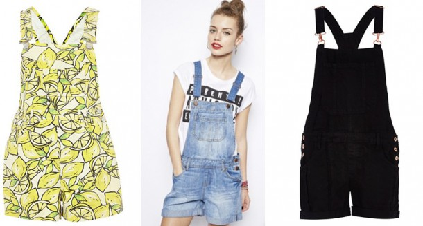 River Island Yellow Lemon Print Dungarees €50, New Look Dungaree Shorts €35, River Island Black Denim Dungarees €35