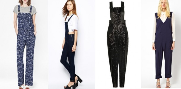 French Connection Marilyn Printed Dungarees €105, Warehouse Denim Dungarees €85, Boohoo Boutique Alice Satin Strap Sequin Dungarees €30, See by Chloe Worker Dungarees in Fluid Twill €597