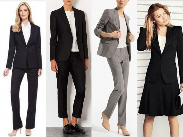 Marks and Spencer Jacket €77 Trousers €42 |Top Shop Jacket £65 Trousers £35 |Massimo Dutti Jacket €195 Trousers €90 |Next Jacket €48 Cami €18 Skirt €34