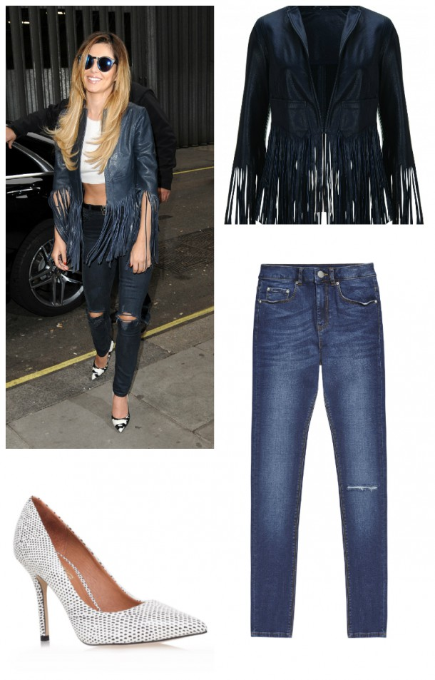 """Jeans, €45.07, """"Ridley"""" at asos.com Shoes, reduced to €65 at kurtgeiger.ie, Jacket, Kate Moss x Topshop, £190 (available online at topshop.com)"""