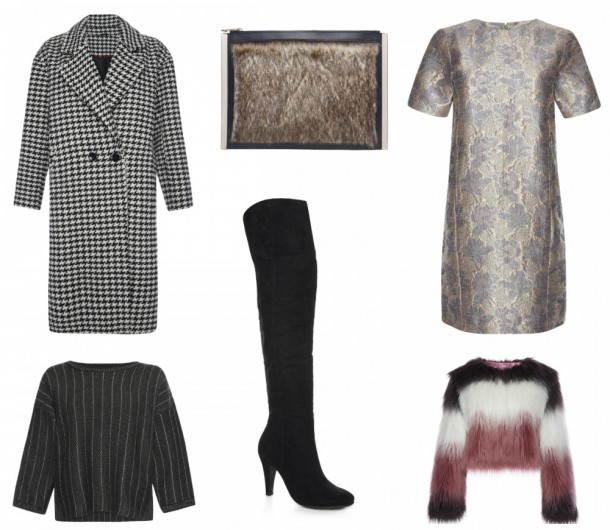 Houndstooth coat, €40 (September), Faux fur clutch, €10 (September) Gold Floral Jaquard Dress, €16 (in stores October), Multi colour shaggy fur jacket, €32 (in stores October). Over the Knee Heeled Boot, €24, in stores August Herringbone Twinset Jumper, €15, in stores September (skirt available to match)