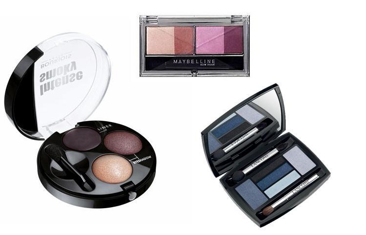 Clockwise from left: Bourjois Intense Smoky Eyeshadow & Liner €10.49,  Maybelline Expert Wear Eye Studio Quad Eye Shadow €9.99, Lancôme Hypnôse Drama Eyes Palette €48