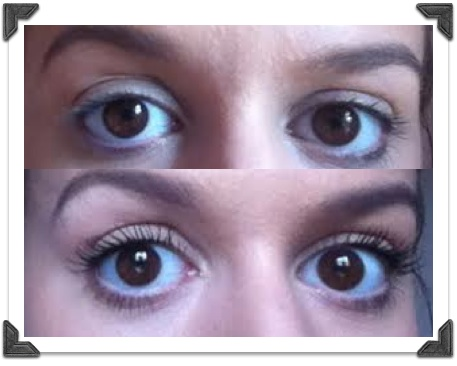 Top: no mascara. Bottom: after one coat.