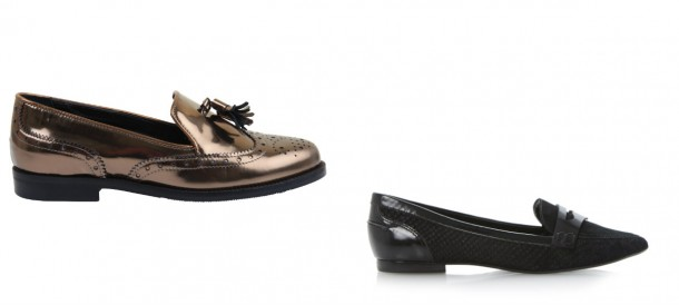 Left: Brown Metallic Brogue, €89, Office; Black Brogue, €99, Dune