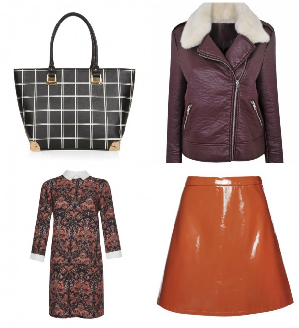 Clockwise from top left: Bag, New Look, €29.99; Jacket, Dorothy Perkins, €72; PVC Skirt, Penneys, €13; Dress, Penneys, €15 (available from September)
