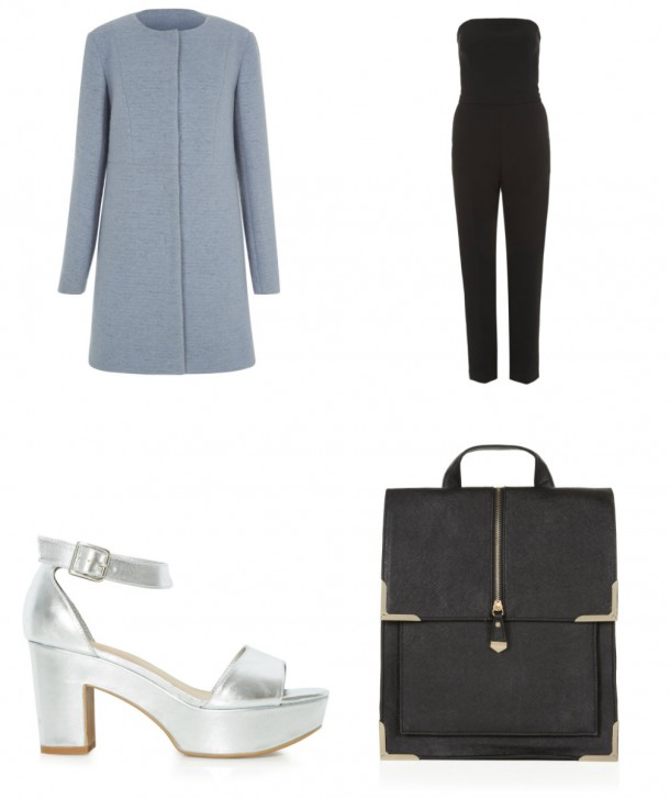 Clockwise from top left: Coat, €64.99, Jumpsuit, €44.99, Silver shoes, €29.99, Bag, €24.99