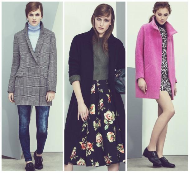 From left: Coat, €64.99, Jumper, €29.99, Jeans, €29.99, Shoes, €24.99; Middle: Coat, €59.99, Jumper, €29.99, Skirt, €29.99, Bag, €29.99. Right: Coat, €74.99, Dress, €29.99, Shoes, €24.99