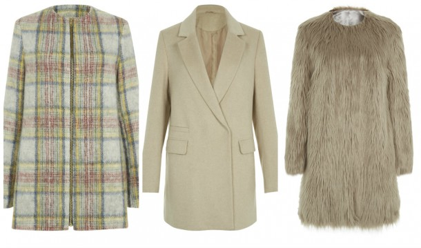 From left: Plaid Coat, €85.99, Blazer Coat, €59.99, Faux Fur Coat, €64.99