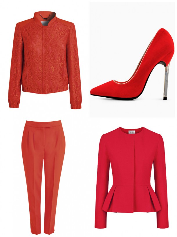 Jacket, €91, Preen at Debenhams Edition; Shoes, €35, iclothing.com; Peplum jacket, €445, Niamh O'Neill; Trousers, €77, Preen at Debenhams Edition