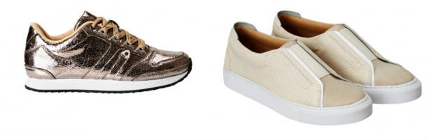 From left: Brown Metallic trainers, €34.99; Right: Cream leather trainers, €59.99; both from H&M
