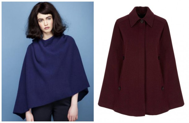 Blue Wool cape, €245, Lennon Courtney; Claret Cape, €220, Pied a Terre at House of Fraser