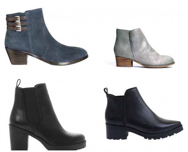 From top left: Grey Buckle Boot, €97.50, John Rocha at Debenhams; Grey Boots, €48, Next; Black Low Heel boot, €111, Office; Black High Heel boot, €135, Dune.