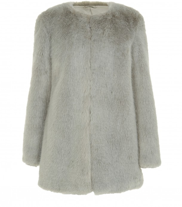 Grey Faux Fur Coat, €85.99, New Look (September)