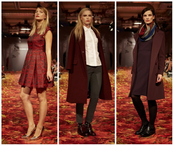 From left: Dress, €65 (available in October); Coat,  €189 from The Edit (October); Coat, €199 and Dress, €119 all from Dunnes Stores
