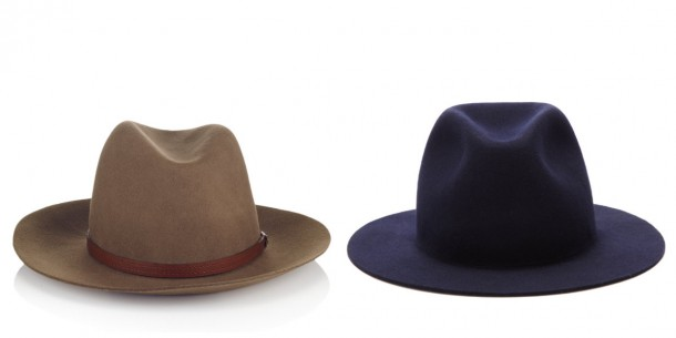 Left: Rag & Bone, €195; Navy trilby style hat, A.P.C., €155 both from Avenue32.com