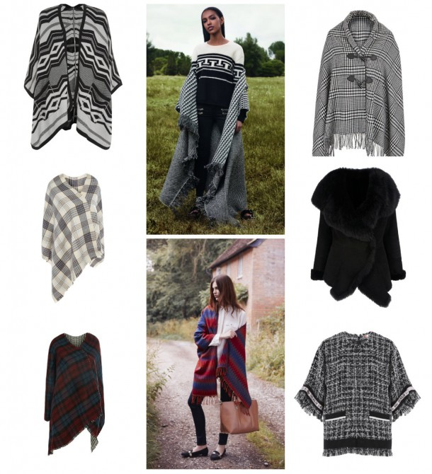 Clockwise from top left: New Look, €29.99; Topshop Autumn Winter; Littlewoods Ireland, €21; Biba Gold at House of Fraser, £649; MGSM Blanket Top at Brown Thomas; €209; Heatons Autumn Winter 2014, Cape, €12; Penneys, €7 (mid-Septmeber), Penneys, €6, (also Mid Septmeber).