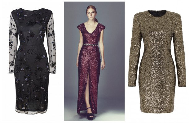 From left: Black Cocktail Dress, Dorothy Perkins (available November); Red sequin dress, €74.99, New Look; Gold Sequin Dress, Limited Edition, Marks and Spencer (available Christmas 2014)