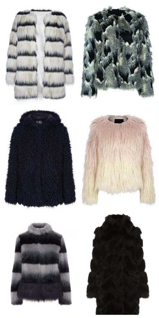 From top left: Stripe faux fur jacket, €35 (November); Patchwork jacket, €75, Next; Two tone jacket, €x, Warehouse; Full length black coat, €x, Karen Millen; Stripe short jacket, €x, Karen Millen,  Black collared jacket, €142.50, H by Henry Holland at Debenhams