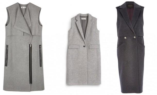 From left: Sleeveless coat with pockets, €259, Fran and Jane; Grey Waistcoat, Hobbs at Arnotts; Sleeveless Coat, €107, RiverIsland.com (online only)