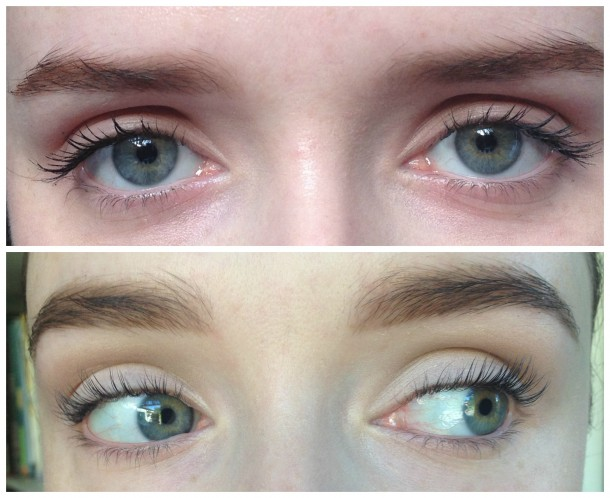 top: Before, with mascara bottom: After, no mascara